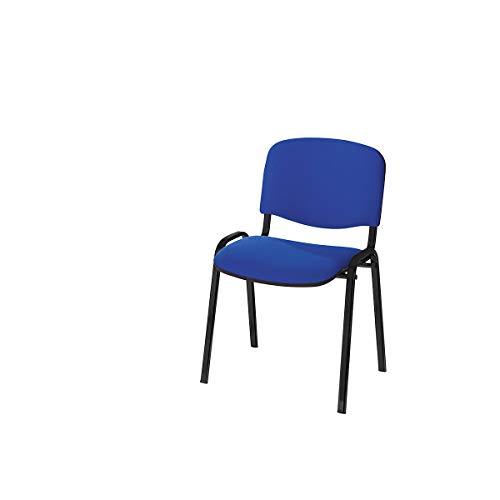 Siège visiteur empilable - dossier rembourré, piétement noir - habillage anthracite, lot de 2 - chaise chaise empilable chaise empilable rembourrée chaises chaises empilables chaises empilables