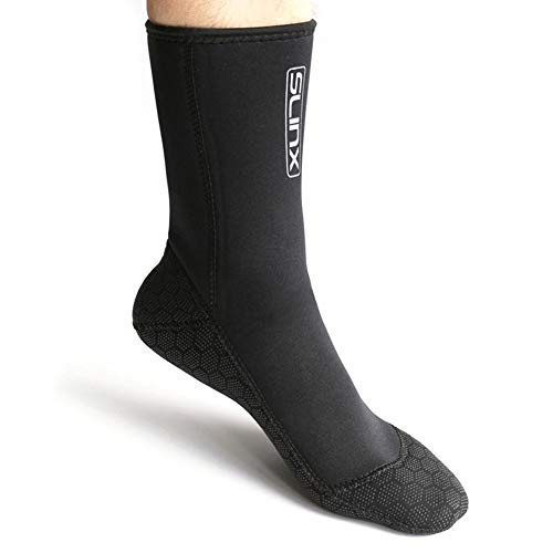 TrusMe 1 par de calcetines de neopreno para hombre de 3 mm, para buceo y buceo, para evitar arañazos, calentamiento, para esnórquel, color negro, talla M