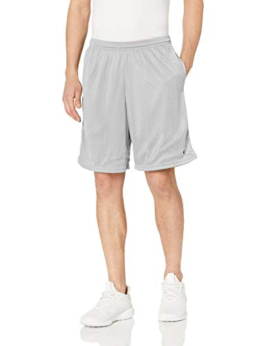 Champion Men's Long Mesh Short With Pockets,Athletic Gray,Medium