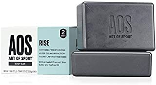 Art of Sport Body Bar Soap (2-Pack), Rise Scent, with Activated Charcoal, Tea Tree Oil, and Shea Butter, for Shower or Hand Soap, 3.75 oz