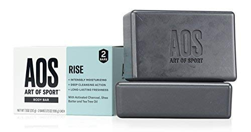 Art of Sport Body Bar Soap (2-Pack) - Rise Scent - Activated Charcoal Soap with Natural Botanicals Tea Tree Oil and Shea Butter - Fresh and Clean Fragrance - Shower + Hand Soap - 3.75oz