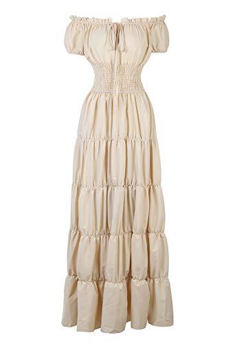 Renaissance Costumes Women Medieval Chemise Dress Under Dress Peasant Irish Beige S