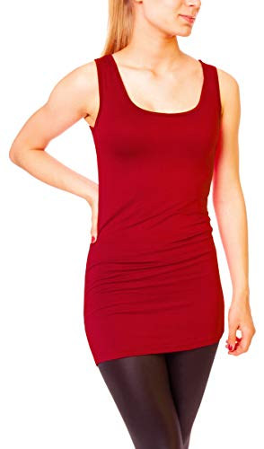 Easy Young Fashion Damen Basic Tank Top Träger Hemd Longtop Unterhemd Extra Lang Skiny Fit One Size Dunkelrot