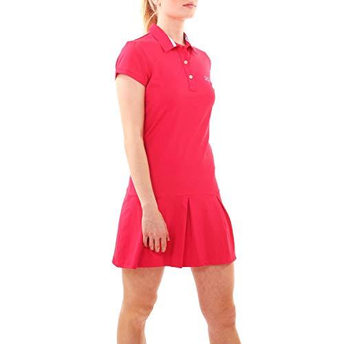 Sportkind Mädchen & Damen Tennis, Hockey, Golf Polokleid mit UV-Schutz, Kurzarm, pink, Gr. 134