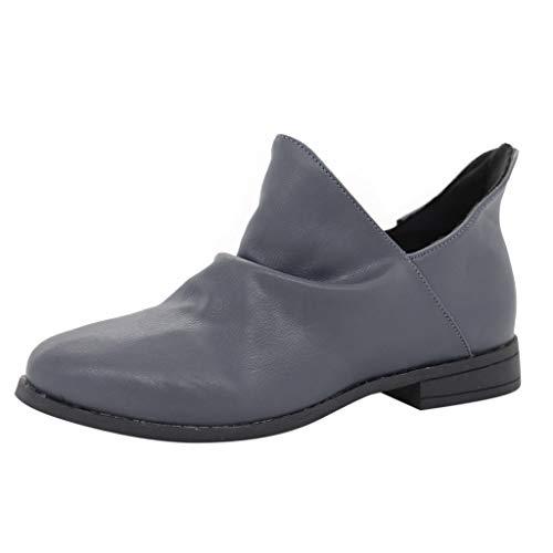 Dorical Damen Kurze Stiefelette mit 4 cm Absatz,Casual Hohl Stiefeletten Boots Stiefel Slip-On und einem tollen PU-Leder in Vintageoptik,gr 35-43 Größe