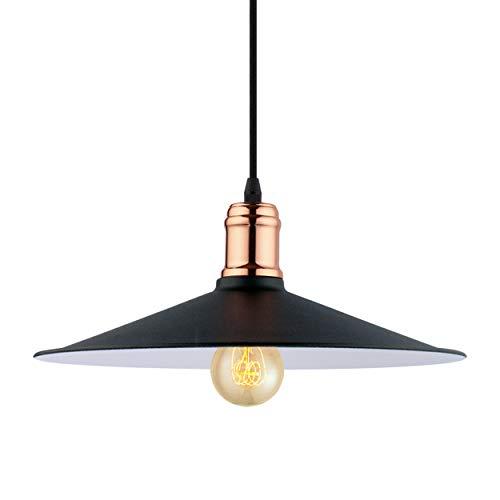 EGLO pendellampa Bridport, 1 brandsäker hänglampa vintage, retro, industriell, hängande lampa stål, matbordslampa, vardagsrumslampa hängande i svart, koppar, vit, E27 fattning