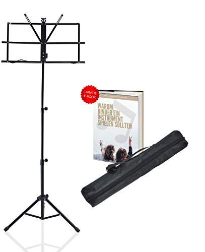 Notenständer für Kinder und Profis | Notenpult klappbar, stabil und leicht | Notenhalter inkl. E-BOOK & Tragetasche in schwarz ausziehbar von 70cm-130cm | FurprX.
