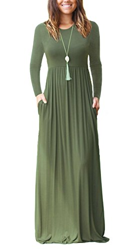DEARCASE Women's Casual Long Sleeve Long Maxi Tunic Dresses with Pockets Army Green Small