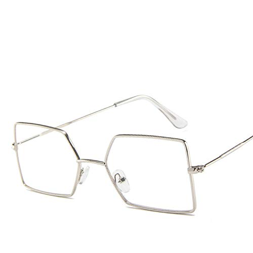 DLSM Marco de Metal Lente oceánico Gafas de Sol Mujer Lady Vintage Metal Eyeglasses Vintage Espejo Apto para Deportes al Aire Libre y Senderismo-Plateado-t