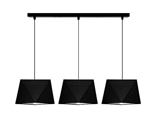NIEUW hanglamp mooie hanglamp diamant H3 staal vele kleuren Gestellfarbe: Schwarz Lampenkap: zwart.