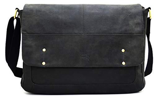 TUSC Aaron Grijze leren tas Vintage laptoptas 15,6 inch 14 inch Heren Dames Unisex Schoudertas Aktetas Schoudertas voor Office Notebook Messenger Bag Laptop iPad, 38x28x9cm