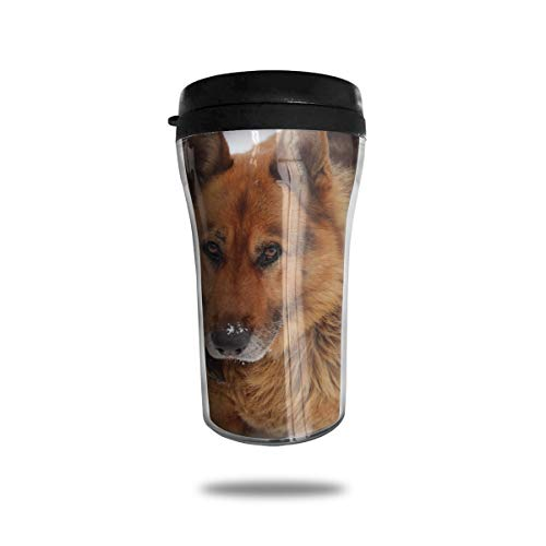 OUYouDeFangA Black Red German Shepherd Travel Coffee Mug 3D Printed Portable Vacuum Cup,Insulated Tea Cup Water Bottle Tumblers For Drinking With Lid 8.54 Oz (250 Ml)