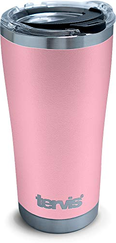 Tervis Powder Coated Stainless Steel Tumbler with Clear and Black Hammer Lid, 20-ounce Pink - 1310293