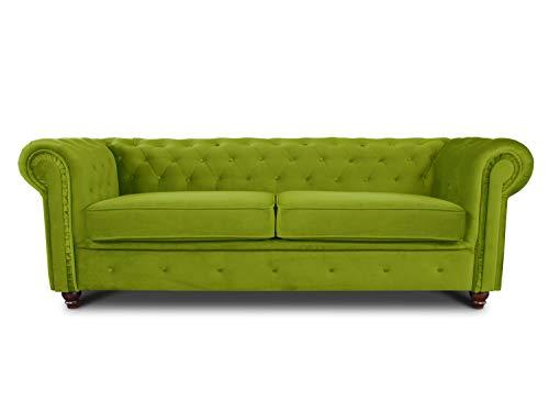 Sofa Chesterfield Asti 3-Sitzer, Couch 3-er, Glamour Design, Couchgarnitur, Sofagarnitur, Holzfüße, Polstersofa - Wohnzimmer, Velours (Hellgrün (Velvet 75))