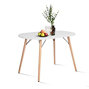 CozyCasa Farmhouse Dining Table Mid-Century Kitchen Table with Wood Tube Oval Top for Home Office Patio White Only Table not Include Chairs