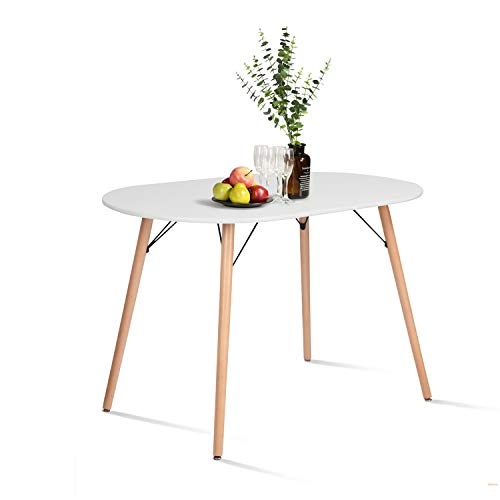 CozyCasa Farmhouse Dining Table Mid-Century Kitchen Table with Wood Tube Oval Top for Home Office Patio White(Only Table not Include Chairs)