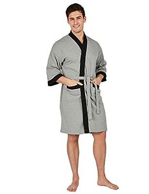 YIMANIE Men's Waffle-Weave Kimono Robe Cotton Spa Bathrobe Lightweight Soft Knee Length Sleepwear