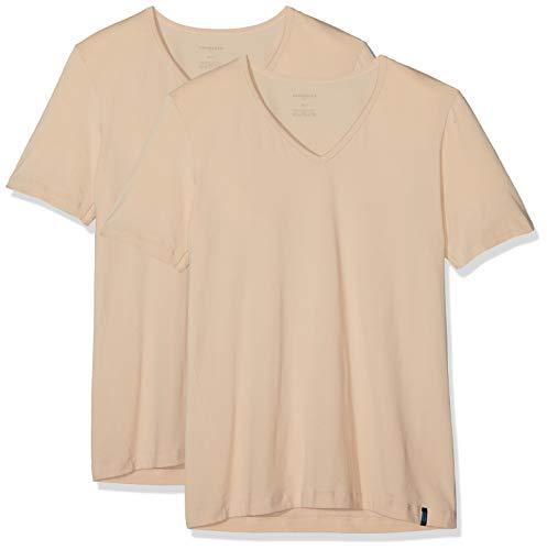 Schiesser Herren 95/5 Shirt (2er Pack) Unterhemd, Beige (Haut 407), Large