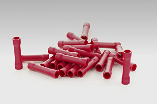 Stossverbinder isoliert rot 100x Stoßverbinder 0,25-1,5 mm vollisoliert Crimpzange Quetschverbinder Kabelverbinder Crimp Zange Verbinder Kabelschuhe KFZ robElCo