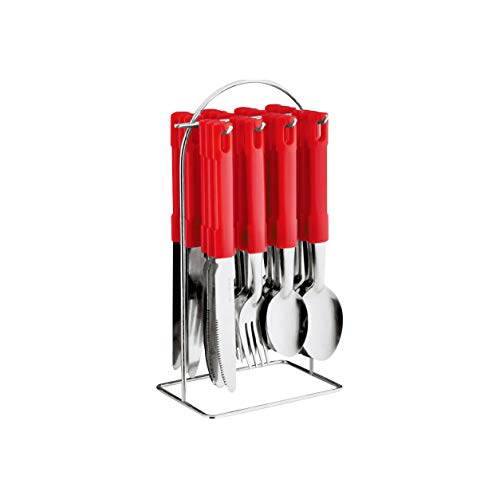 Juego de vajilla de acero inoxidable con soporte de metal y tenedores, 24 unidades, color rojo