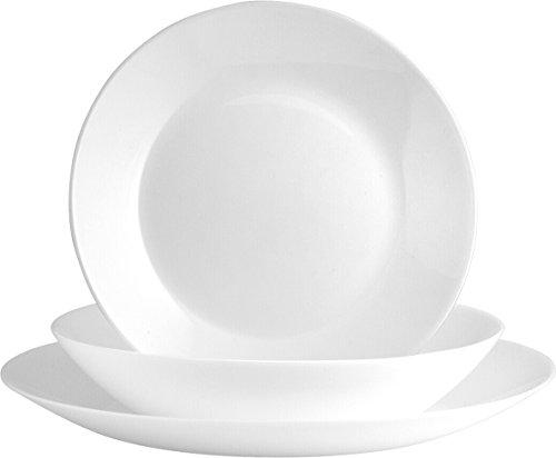 Arcopal Zelie Vajilla de Vidrio Opal Extra Resistente, 18 Piezas, Color Blanco