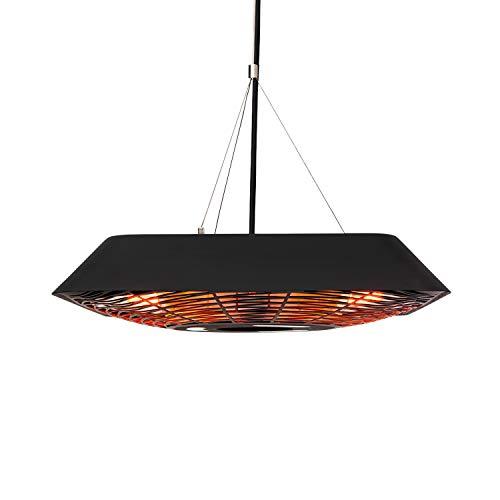 blumfeldt Heat Square Slim Infrarot-Heizstrahler aus Edelstahl, 2000 W, IR ComfortHeat mit Carbon-Heizröhre, LED-Beleuchtung, Spritzwasserschutz, Deckenaufhängung: 100 cm, Fernbedienung, schwarz