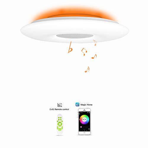 OFFDARKS LED Lámpara de techo,compatible con Amzon Alexa+Google Assistantpara,sala de estar, dormitorio, sala de niños,altavoz Bluetooth,brillo ajustable,Luz de color,APP + Control remoto φ39cm-55w