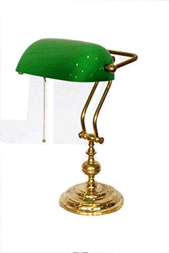 Keyhome - Lámpara de mesa americana ministerial regulable de latón pulido y cristal verde - Ideal para estudios, abogados, notaios - Altura 40 cm