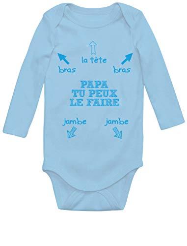 Green Turtle Papa, Tu Peux Le Faire! Cadeau pour Le Futur Papa Body Bébé Manche Longue 3-6 Mois Bleu Ciel