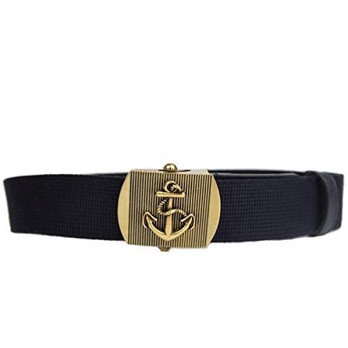 Gucci Men's Blue Fabric Brass Anchor Buckle Belt (90/36)