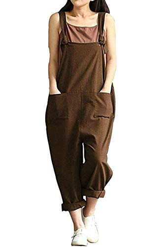 Women's Casual Cotton Linen Plus Size Overalls Baggy Wide Leg Loose Rompers Jumpsuit (S, Coffee)