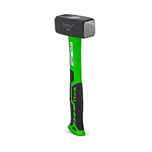 WilFiks Mini Sledge Hammer, 2.7 LB Drilling Hammer Tool With Heat Treated Steel, Stoning Club Hammer For Light Demolition Work, Cutting Stone, Brick Or Wood, Anti-Slip Grip Ergonomic Fiberglass Handle