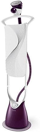Philips ComfortTouch Plus Plancha de Vapor Vertical, con Cepillo, Cabezal de fragancias, Percha integrada, 2000 W, 1.8 litros, Cerámica, Morado y blanco
