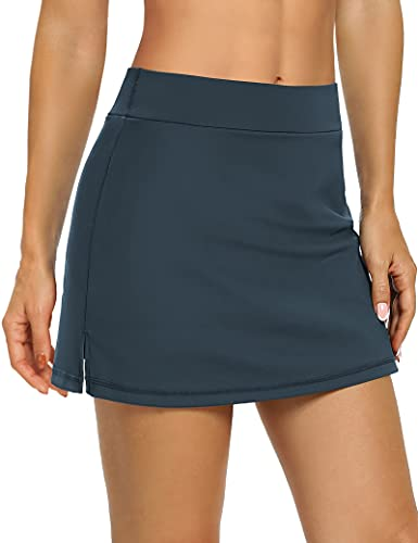 LouKeith Tennis Skirts for Women Golf Athletic Activewear Skorts Mini Summer Workout Running Shorts with Pockets Navy S