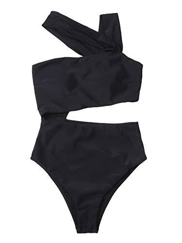 MakeMeChic Women's Cut Out Strappy High Waist One Piece Monokini Swimsuit Black M