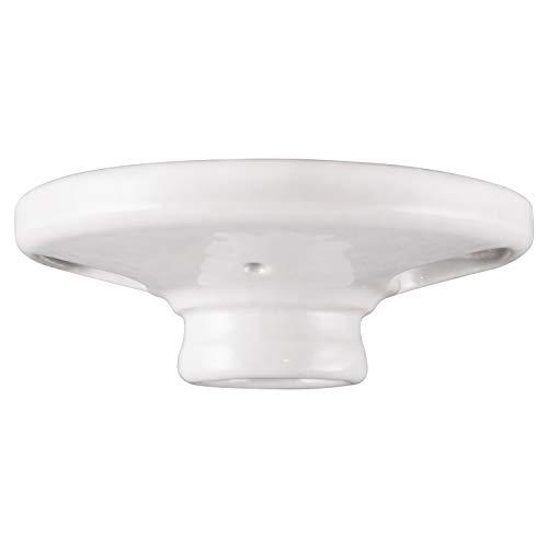 "GE, White, Keyless Medium Base Porcelain Lampholder, Mount on 3-1/4"" or 4"" Box, UL Listed, 18304, 1 Pack"