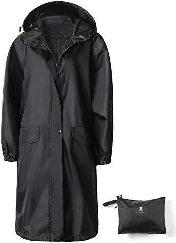 SaphiRose Womens Long Hooded Rain Jacket Waterproof Lightweight Raincoat Windbreaker Black Large product image