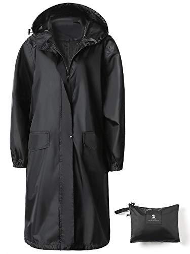 SaphiRose Womens Long Hooded Rain Jacket Waterproof Lightweight Raincoat Windbreaker Black Medium