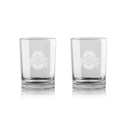 Duck House NCAA Ohio State Buckeyes Whiskey Rocks Glass   Frosted Team Logo   Lead-Free   Premium Glassware   Set of 2   12oz