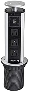 Kungfuking Pulling Pop Up Outlet Socket Recessed Retractable Power Strip Charging Station with 3 US Plug and 2 USB Ports for Kitchen Counter Island Conference Office, Black