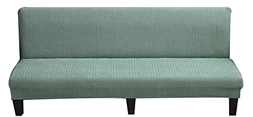 erddcbb Armless Sofa Slipcover Elastic Fitted Full Folding Sofa Bed Cover Without Armrests,Newest Jacquard Futon Cover Stretch Armless Futon Sofa Cover Soft Sofa Slipcovers (Small,Cypress Green)