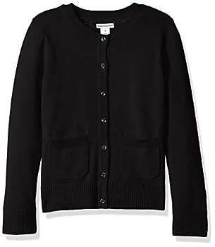 Amazon Essentials Little Girls  Uniform Cardigan Sweater Black Beauty M