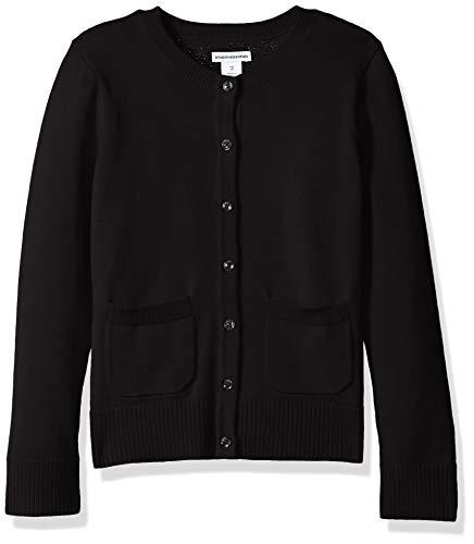 Amazon Essentials Big Girls' Uniform Cardigan Sweater, Black Beauty, L