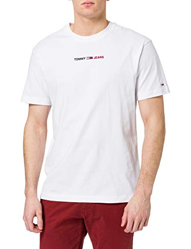 Tommy Jeans TJM Linear Logo tee Camiseta, blanco, S para Hombre