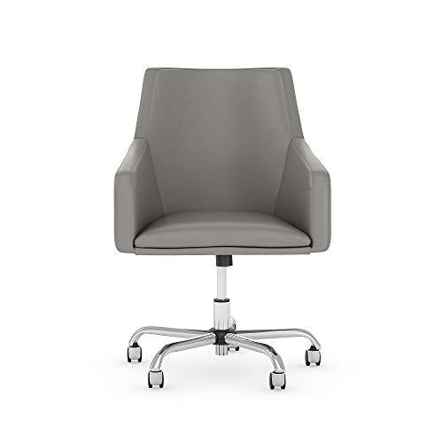 Bush Furniture Somerset Mid Back Leather Box Chair, Light Gray