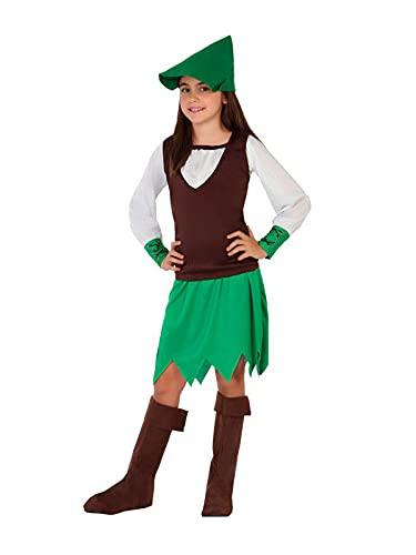 DISBACANAL Disfraz Robin Hood para niña - 5-6 añ
