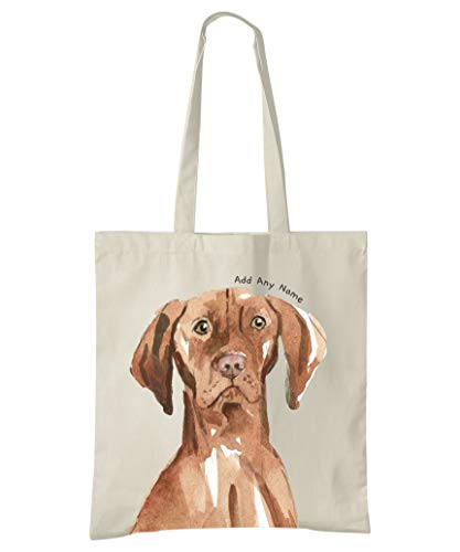 Bolsa de algodón natural con diseño de perro húngaro Vizsla personalizable