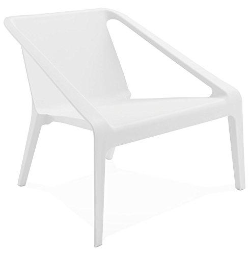 Alterego Fauteuil Lounge de Jardin 'Sunny' Blanc en matière Plastique