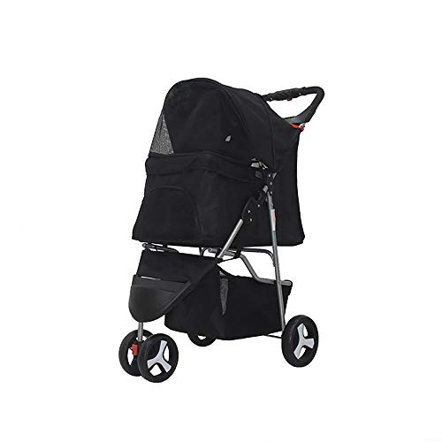 Axonl Pet Stroller, 3 Wheels Dog Stroller, Portable Cat Carrier Stroller, 2 Layers Foldable Pet Stroller for Medium & Small Dogs & Cats Transportation (Black, 3 Wheels)