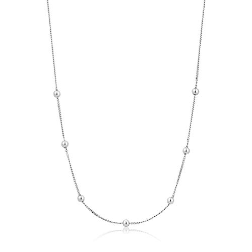 ANIA HAIE 925 Sterling Silver Delicate Modern Simplistic Layering Metal Ball Bead Necklace for Women, Silver